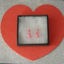 Beautiful Earrings With Pink Morganite And Rose Quartz 2.8 Gr.3 Cm. Long+ Hooks