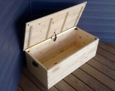 Custom Made Blanket Chest ~ Natural Finish Solid Wood Farmhouse Storage Trunk