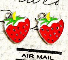 Fraise Fruits Charms Argent 2 bijoux fournitures C474