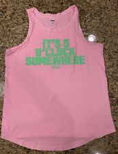 "Victoria's Secret PINK Tank Top ""5 O'clock Somewhere"" Size Large"