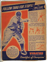 1939 Wheaties Cereal Panel, Series 12, Baseball, Bill Lee, Chicago Cubs