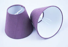 6 Candle Lampshades Handmade in UK - 100% Pure Dupion Silk Aubergine