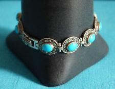bracelet en argent massif marcassite et résine bleu avec écrin