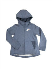 Nike Girls Sportswear Full Zip Sherpa Hoodie Shirt Heather Blue AV8422 New