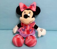 "Disney Minnie Mouse Plush Stuffed Animal Toy 9"" Pink w/ Purple Hearts Just Play"
