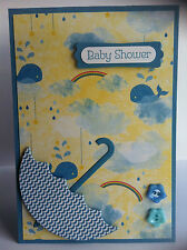 Handmade Baby Shower card. Blue/boy. Design #6