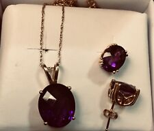Solid Yellow Gold And Natural Amethyst Pendant Earrings Set Lot