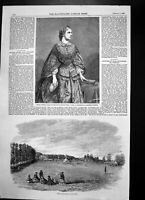 Old Print Mdlle Victoria Balfe Italian Opera Cricket Ground Enville 1857 19th