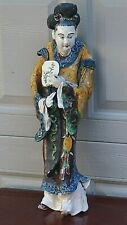 ANTIQUE CHINESE COURTESAN SHIVAN POTTERY MULTI-COLORED HANGING /ROOF TILE