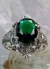 3ct Oval Cut *Green Emerald* Sterling Silver Filigree Deco Design Ring Size 6
