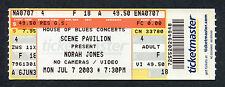 2003 Norah Jones unused full concert ticket Cleveland Come Away With Me