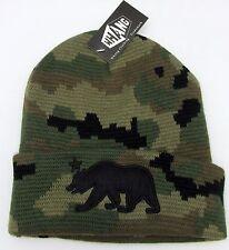 CALIFORNIA REPUBLIC Skull Cap Embroidered Cuff Beanie Winter Hat Camo CALI NWT