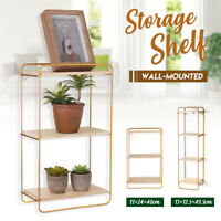 Wall-Mounted Iron Wood Shelf Storage Display Metal Vintage Hanging Rack  W