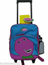 "Barney Small Rolling Backpack 12"" x 10"" ( TURQUOISE/FUSHIA ) + BONUS Clip-On"