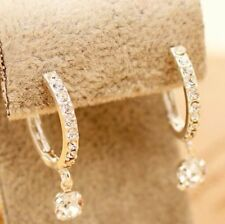 Cute New White Gold Plated CZ Accent Round Hoop Earrings w/Dangling CZ Gem
