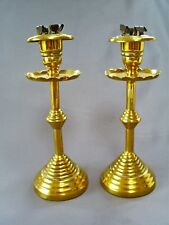 "PAIR C19TH ARTS & CRAFTS BRASS ECCLESIATICAL STYLE BEEHIVE BASE 7"" CANDLESTICKS"