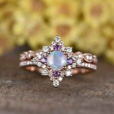 2 Pcs Natural Ethiopian Opal Engagement Ring Opal Ring Amethyst Ring For Women