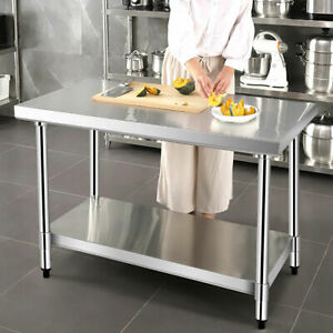 Commercial Catering Table Stainless Steel Kitchen Work Bench Food Prep Worktop