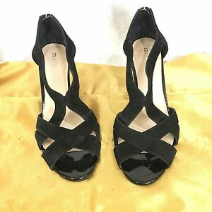 Franco Sarto Womens Black Suede and Patent Leather High Wedge Heels Sz 10M