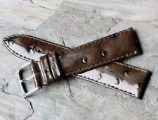 Short Length ostrich pattern 18mm Genuine Leather vintage watch band 1960s/70s