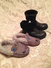 UGG Waterproof boots Kids Black Size 9 Eu 27  Leather & M&S Warm Slippers Bundle