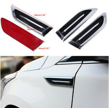 1 Pair Car 3D Air Vent Decoration Sticker Silver + Black ABS Engine Side Cover