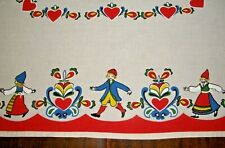 "SWEDISH KURBITS & FOLK DRESS DANCERS DESIGN BY BUHLER 36""X 34"" TABLECLOTH SWEDEN"
