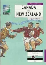 Canada v NZ- quarter final RWC 1991 RUGBY PROGRAMME