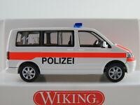 """Wiking 010438 VW T5 Bus (2003) """"Polizei (CH)"""" in weiß/leuchtrot 1:87/H0 NEU/OVP"""