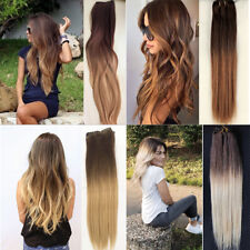 """Full Head Clip in 100% Real Human Hair Extensions Remy Ombre Straight 18"""" Blonde"""