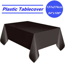Black Rectangle Plastic Table Cloth Cover Wedding Birthday Party Tablecover