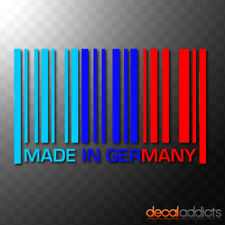 Made in Germany - Vinyl Barcode Car Decal Sticker in BMW M sport colours Msport