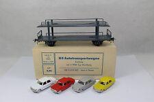 ax1193, RAR Dahmer Autotransportwagen mit 4x Wartburg ! ex. DDR BOX 1:87 H0
