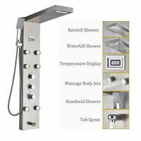 Brushed Nickel 5-Function Shower Panel Thermostatic Mixer Control Waterfall Rain