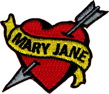 6279 Mary Jane Heart Banner Arrow Tattoo Love Weed Pot Embroidered Iron On Patch