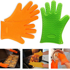 Kitchen Gloves Silicone Heat Resistant Cooking Pan Oven BBQ Holder Safety Glove