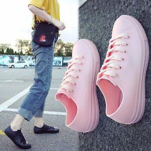 Women Rain Sneakers Boots PVC Shoes Waterproof Rubber Lace Up Ankle Non-Slip