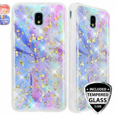 For Samsung Galaxy J3 Orbit/Star/V 2018 Case Marble Glitter TPU +Tempered Glass