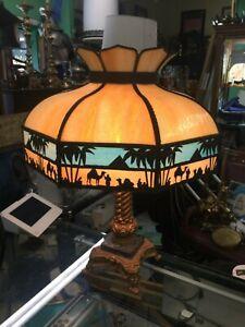 Antique Slag Glass Lamp Egyptian Theme Circa 1920