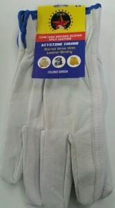 Cowhide Leather Work Gloves DOZEN w/ Keystone Thumb Size L