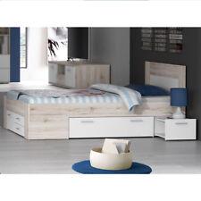 Jugendbett Stefan 140x200 Bettanlage mit Nachttisch Jugendzimmer Sandeiche weiß
