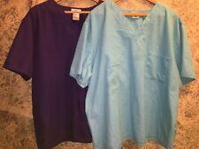 2 scrubs tops medical uniform v-neck 1 chest pocket plus sz 2X purple turquoise