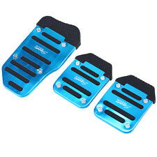 3Pcs Set Non-slip Car Auto Aluminum Foot Treadle Footrests Pedals Cover Pad Blue
