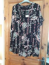 Yours Clothing Black Multi Top Size 18 New With Tags