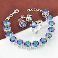 Wedding Gift Set Rainbow Mystic Topaz Gems Silver Bracelet earrings Ring Size 7