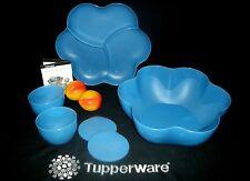 Tupperware 6pc Open House 1.5 gallon Chip N Micro Dip Bowls NLA Mixed Berry BLUE