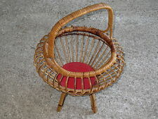 Antiguo cesta a couture de mimbre de años 1950 vieux manualidad costurera