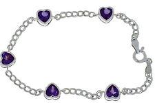 5 Ct Alexandrite Heart Bezel Bracelet .925 Sterling Silver