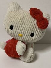 """Hello Kitty by SANRIO 11"""" Ribbed Corduroy Plush Stuffed BOW RED RARE CHENILLE"""