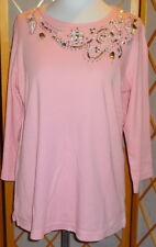 QUACKER FACTORY Size S Pink Rhinestones Beaded Sequins 3/4 Sleeve Knit Top